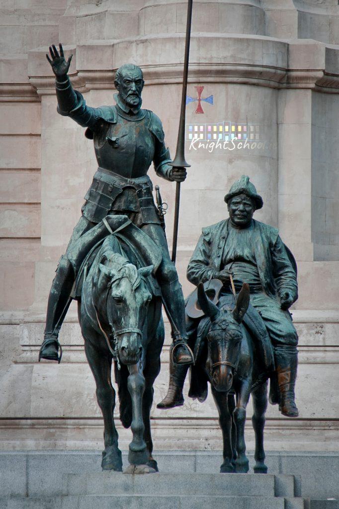 Don Quixote and Sancho Panza, at the Plaza de España in Madrid.